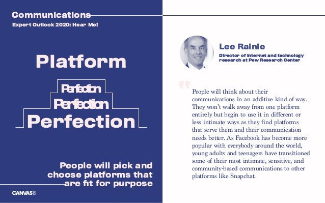 People will think about their communications in an additive kind of way. They won't walk away from one platform entirely b...