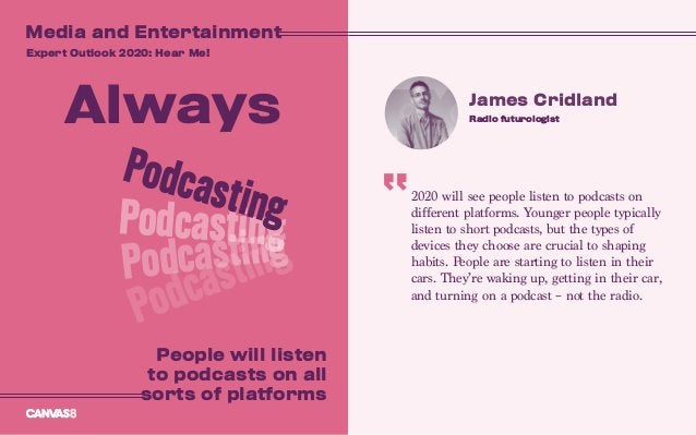 2020 will see people listen to podcasts on different platforms. Younger people typically listen to short podcasts, but the...