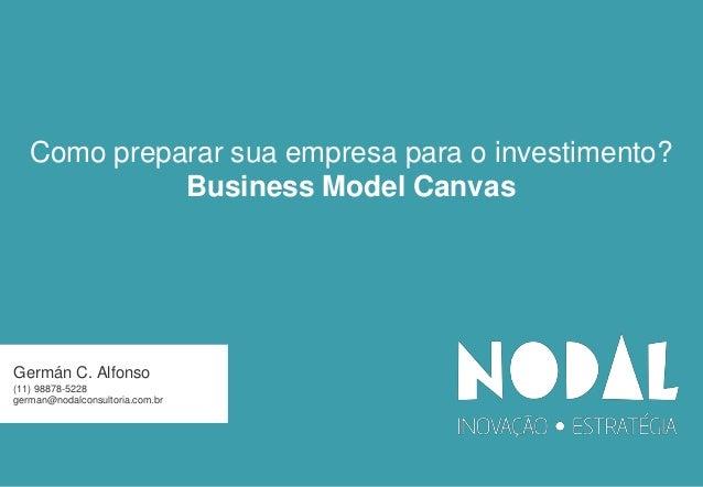 Como preparar sua empresa para o investimento? Business Model Canvas  Germán C. Alfonso (11) 98878-5228 german@nodalconsul...