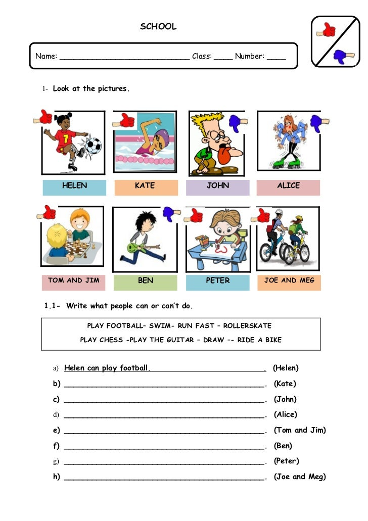 Modal auxiliary verb can: worksheet