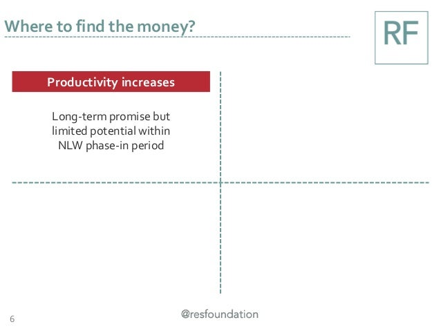 6 Where to find the money? Productivity increases Long-term promise but limited potential within NLW phase-in period