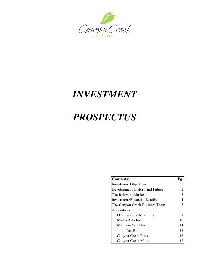 INVESTMENT  PROSPECTUS             Contents:                        Pg.         Investment Objectives             1       ...