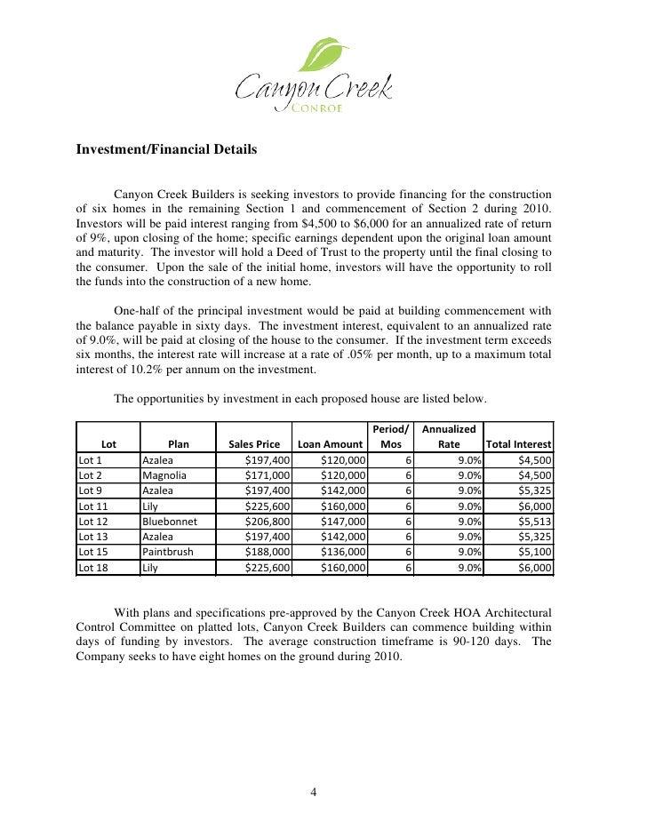 investment prospectus example