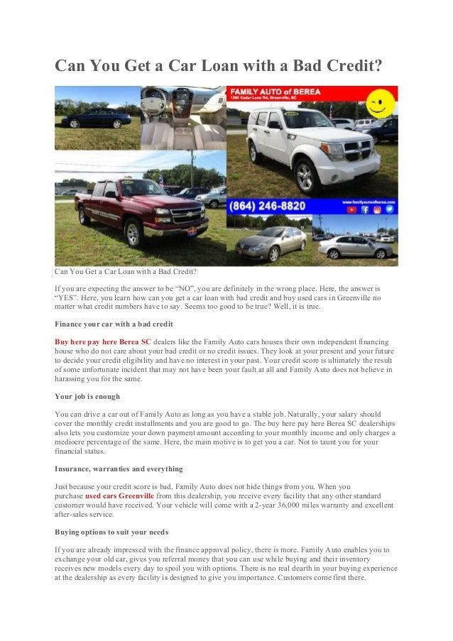 Used Car Loan >> Can You Get A Car Loan With A Bad Credit