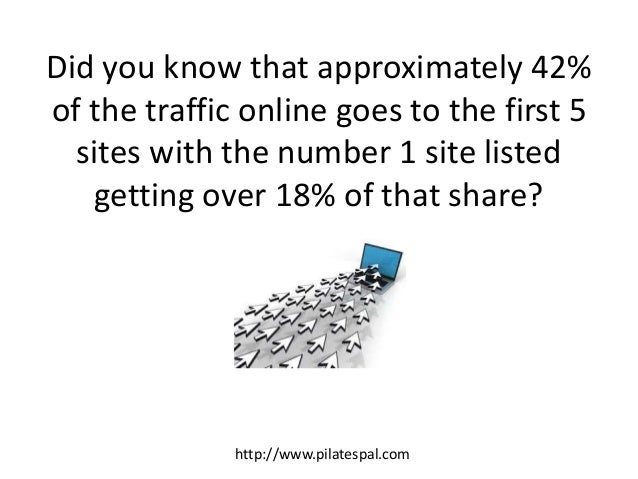 Did you know that approximately 42% of the traffic online goes to the first 5 sites with the number 1 site listed getting ...
