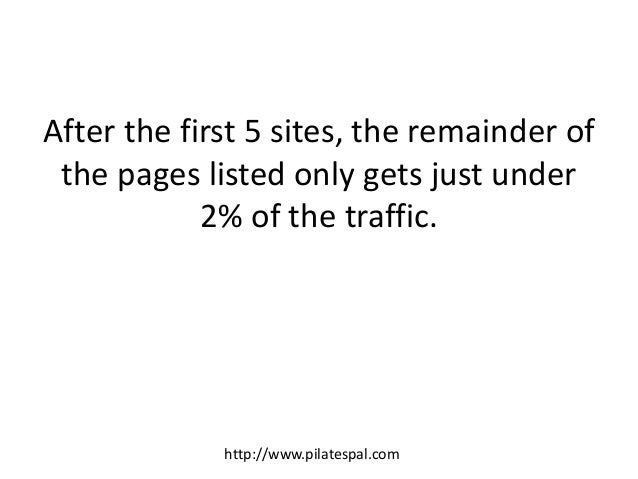 After the first 5 sites, the remainder of the pages listed only gets just under 2% of the traffic. http://www.pilatespal.c...