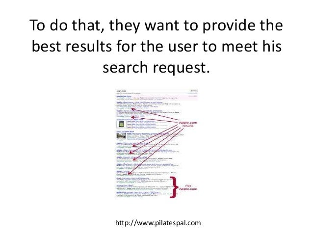 To do that, they want to provide the best results for the user to meet his search request. http://www.pilatespal.com