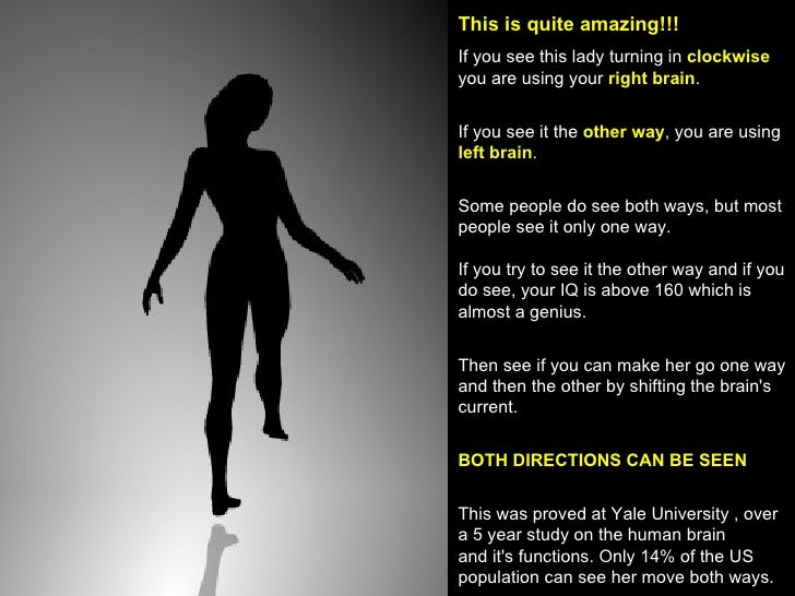 This is quite amazing!!!   If you see this lady turning in  clockwise  you are using your  right brain . If you see it the...
