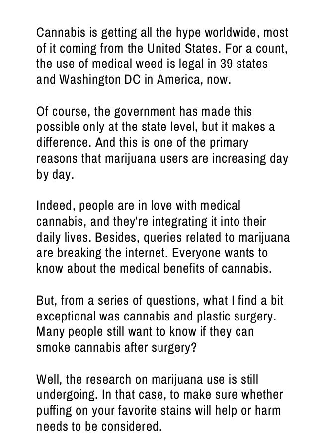 Can you smoke cannabis after plastic surgery  Slide 2