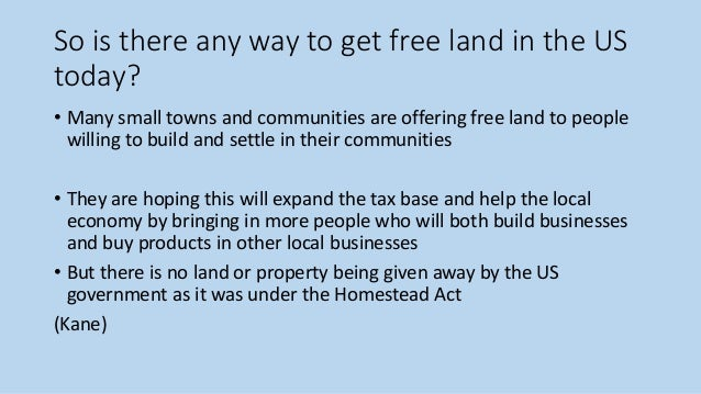 can you still acquire land in the us under the homestead act
