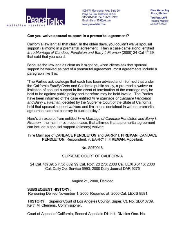Prenuptial Agreement Alimony Gallery Agreement Letter Format