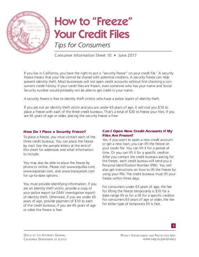 How to freeze your credit files ca attorney generals office how to freeze your credit files tips for consumers consumer information sheet 10 spiritdancerdesigns Image collections