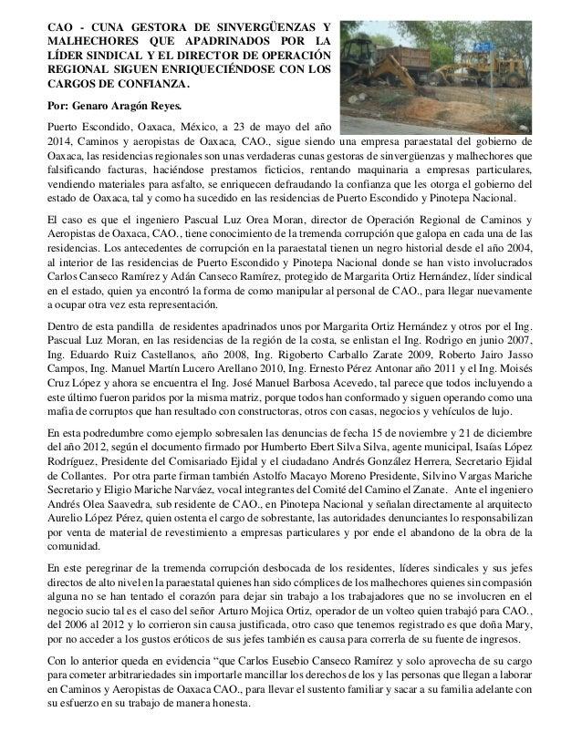 CAO - CUNA GESTORA DE SINVERGÜENZAS Y MALHECHORES QUE APADRINADOS POR LA LÍDER SINDICAL Y EL DIRECTOR DE OPERACIÓN REGIONA...