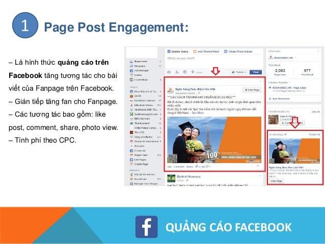 QUẢNG CÁO FACEBOOK Page Like:2 – Là hình thức quảng cáo Facebook hiệu quả giúp tăng fan (like) cho Fanpage – Tính phí theo...