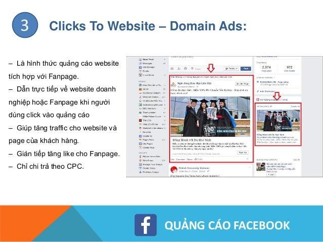 QUẢNG CÁO FACEBOOK Clicks To Website – Standard Ads:4 – Là hình thức quảng cáo website không tích hợp với Fanpage. – Chỉ x...