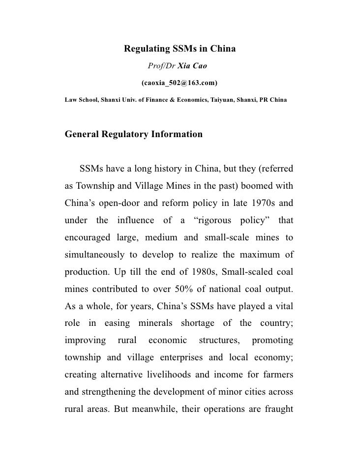 Regulating SSMs in China                            Prof/Dr Xia Cao                          (caoxia_502@163.com)  Law Sch...