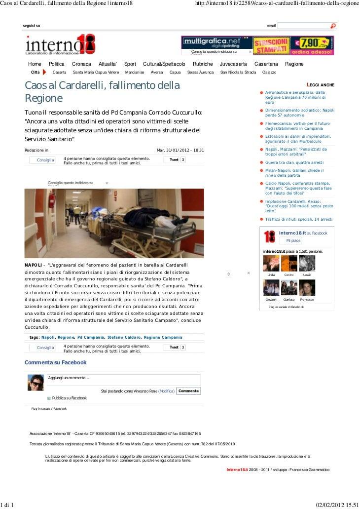 Caos al Cardarelli, fallimento della Regione | interno18                                                        http://int...