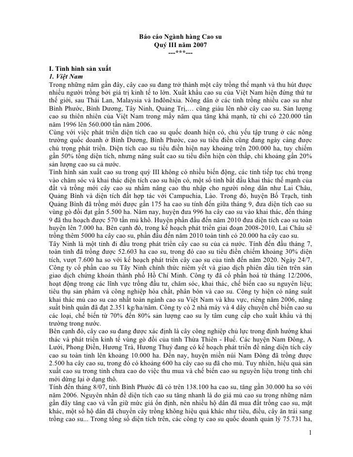 Báo cáo Ngành hàng Cao su                                     Quý III năm 2007                                         ---...