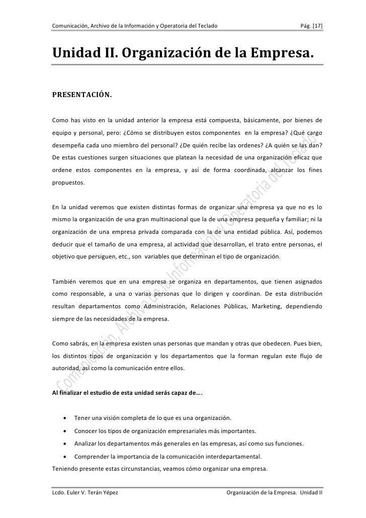 Comunicación, Archivo de la Información y Operatoria del Teclado                               Pág. [17]Unidad II. Organiz...