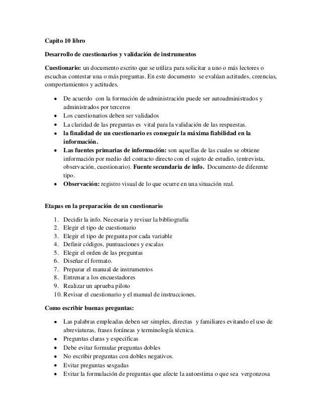 Capito 10 libroDesarrollo de cuestionarios y validación de instrumentosCuestionario: un documento escrito que se utiliza p...