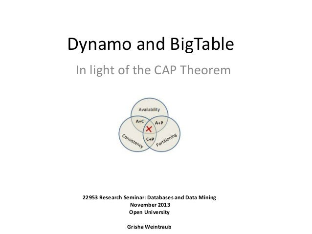 Dynamo and BigTable In light of the CAP Theorem  22953 Research Seminar: Databases and Data Mining November 2013 Open Univ...