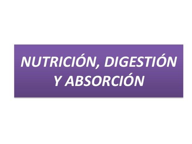 NUTRICIÓN, DIGESTIÓN Y ABSORCIÓN