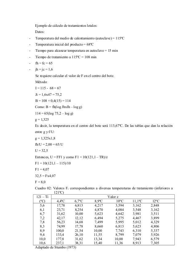 Ejemplo de cálculo de tratamientos letales: Datos: - Temperatura del medio de calentamiento (autoclave) = 115ºC - Temperat...