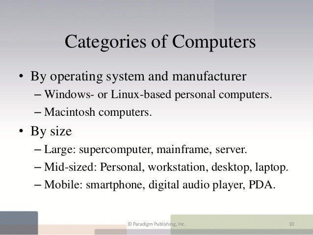 Categories of Computers• By operating system and manufacturer  – Windows- or Linux-based personal computers.  – Macintosh ...