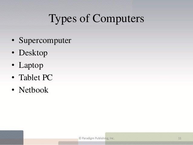 Types of Computers•   Supercomputer•   Desktop•   Laptop•   Tablet PC•   Netbook                    © Paradigm Publishing,...