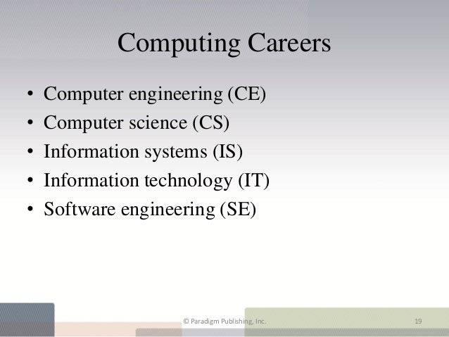 Computing Careers•   Computer engineering (CE)•   Computer science (CS)•   Information systems (IS)•   Information technol...