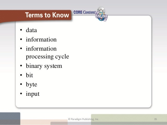 • data• information• information  processing cycle• binary system• bit• byte• input                        Terms to Know  ...