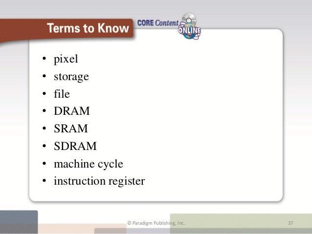 •   pixel•   storage•   file•   DRAM•   SRAM•   SDRAM•   machine cycle•   instruction register                     Terms t...