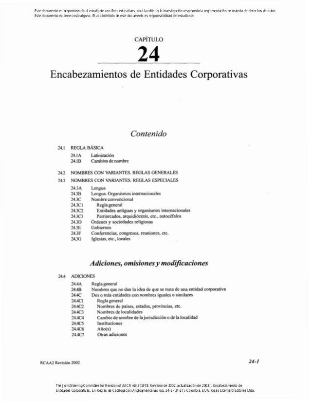 Encabezamientos de Entidades CorporativasContenido24.1 REGLA BASICA24.IA Latinización24.18 Cambiosdenombre242 NOMBRES CON ...
