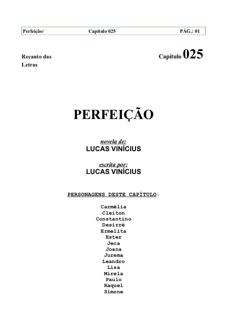 Perfeição/          Capítulo 025               PÁG.: 01Recanto das                             Capítulo   025Letras       ...