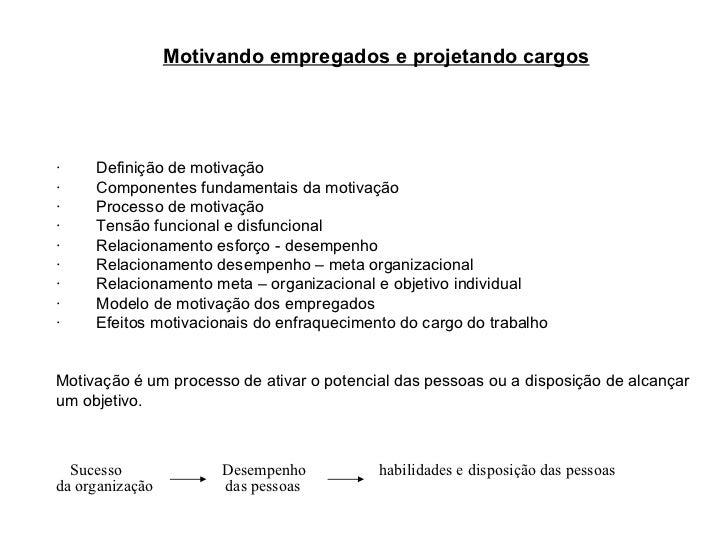 Motivando empregados e projetando cargos  ·  Definição de motivação ·  Componentes fundamentais da motivaçã...