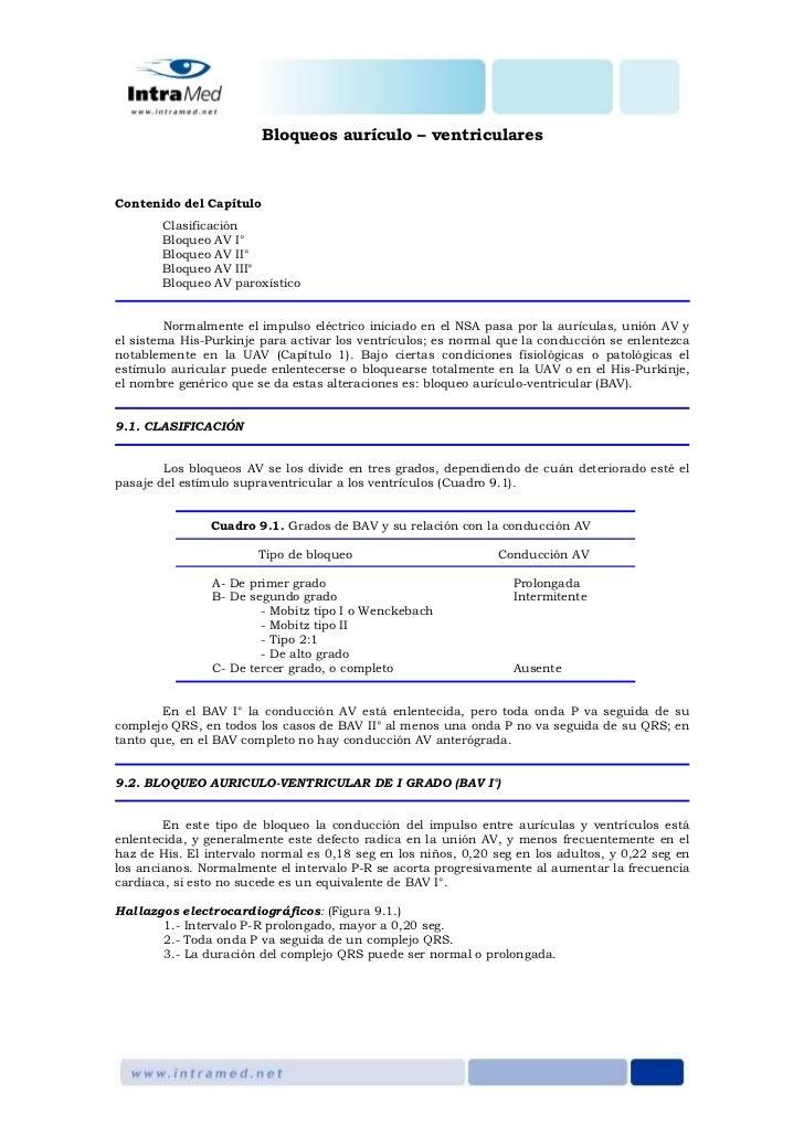 Bloqueos aurículo – ventricularesContenido del Capítulo       Clasificación       Bloqueo AV I°       Bloqueo AV II°      ...