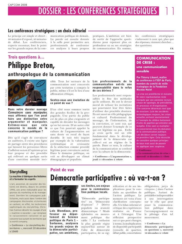 CAP'COM 2008                                                              DOSSIER : LES CONFÉRENCES STRATÉGIQUES 11       ...