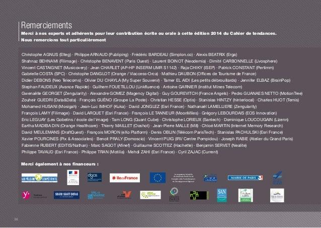 Remerciements  Merci à nos experts et adhérents pour leur contribution écrite ou orale à cette édition 2014 du Cahier de t...