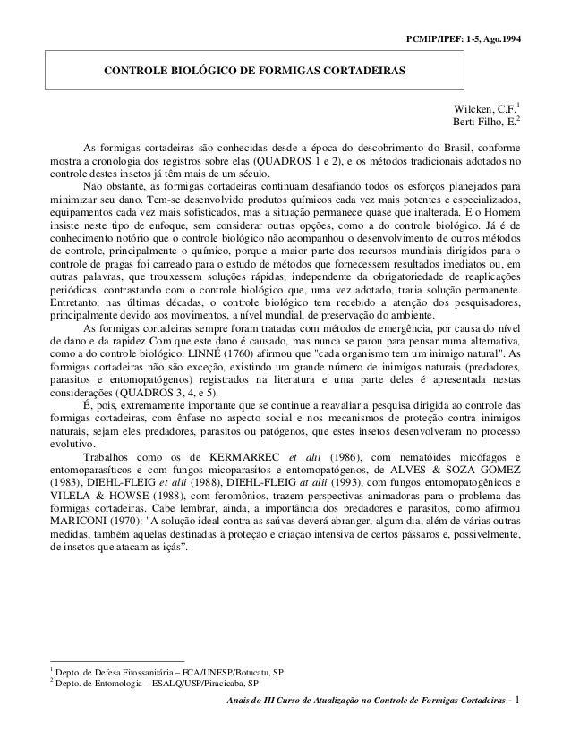 PCMIP/IPEF: 1-5, Ago.1994 Anais do III Curso de Atualização no Controle de Formigas Cortadeiras - 1 CONTROLE BIOLÓGICO DE ...
