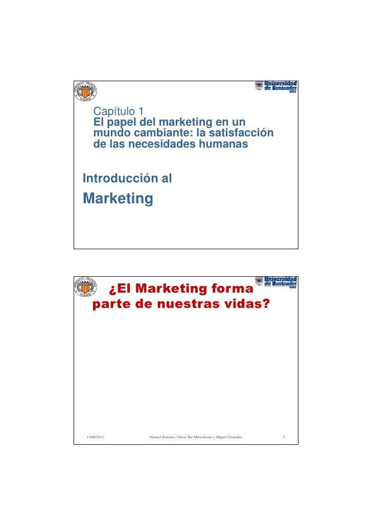 Capítulo 1   El papel del marketing en un   mundo cambiante: la satisfacción   de las necesidades humanasIntroducción alMa...