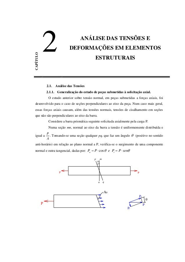 EFEITOS DA FORÇA CORTANTE NAS PEÇAS ESTRUTURAIS CAPÍTULO 2 ANÁLISE DAS TENSÕES E DEFORMAÇÕES EM ELEMENTOS ESTRUTURAIS 2.1....