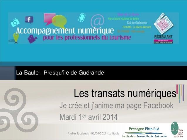 Les transats numériques Je crée et j'anime ma page Facebook Mardi 1er avril 2014 La Baule - Presqu'île de Guérande Atelier...