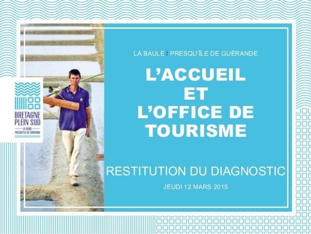 LA BAULE I PRESQU'ÎLE DE GUÉRANDE L'ACCUEIL ET L'OFFICE DE TOURISME RESTITUTION DU DIAGNOSTIC JEUDI 12 MARS 2015