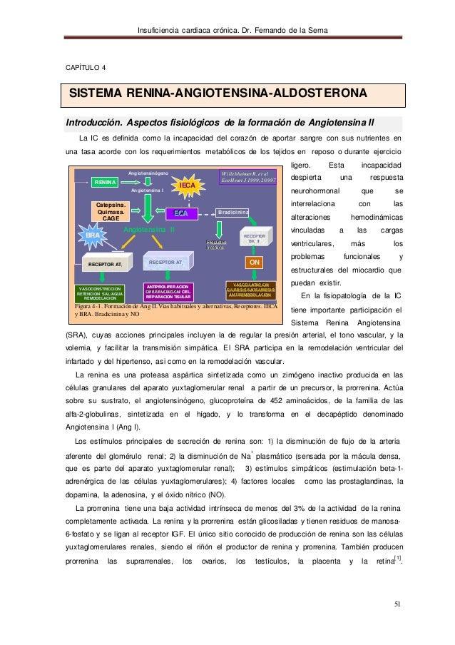 Insuficiencia cardiaca crónica. Dr. Fernando de la Serna 51 CAPÍTULO 4 SISTEMA RENINA-ANGIOTENSINA-ALDOSTERONA Introducció...