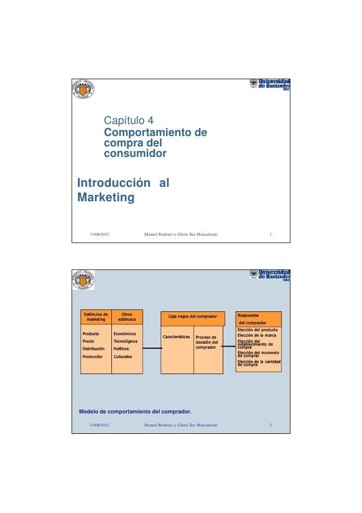 Capítulo 4             Comportamiento de             compra del             consumidorIntroducción alMarketing     13/06/2...