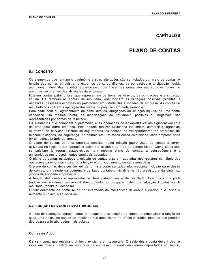 RICARDO J. FERREIRA PLANO DE CONTAS                                                                                       ...
