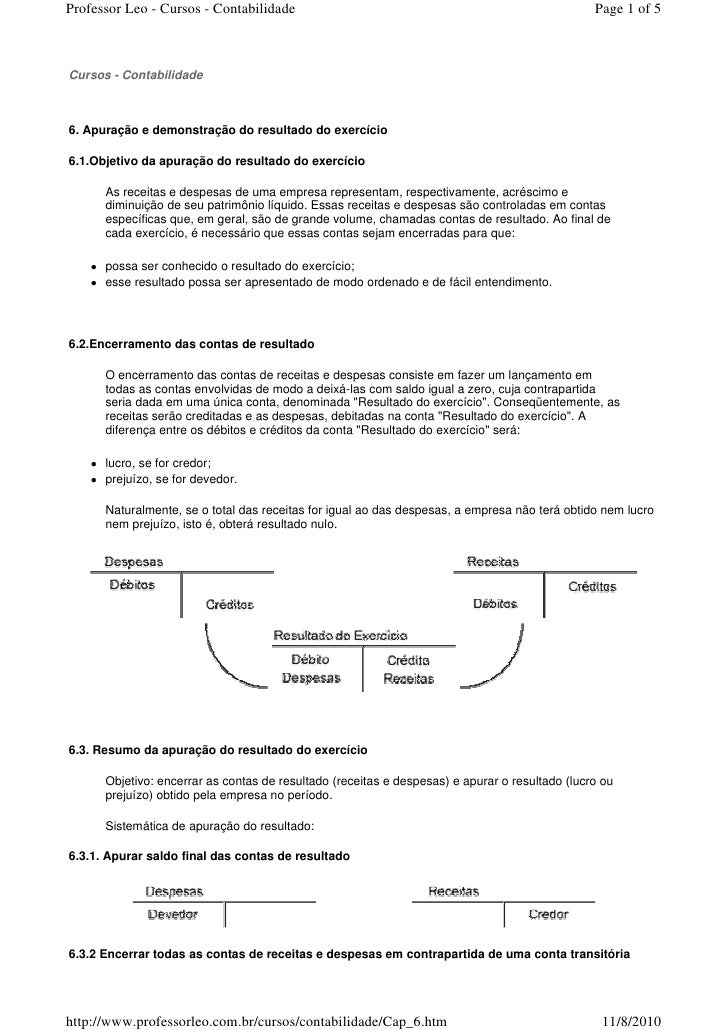 Cap 06. apuração e demonstração do resultado do exercício