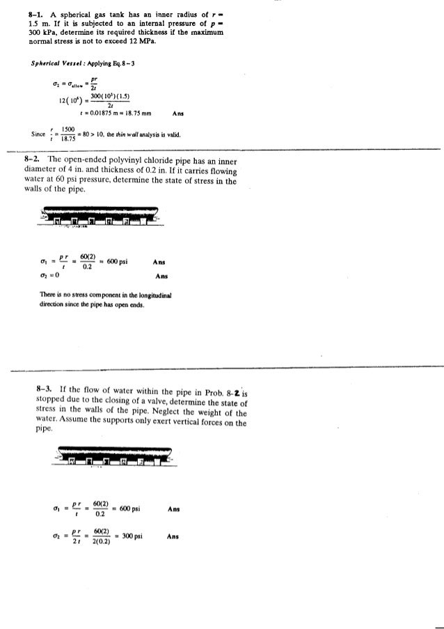 Resistência dos Materiais - Hibbeler 5ª Ed.Cap08 - Exercícios resolvidos