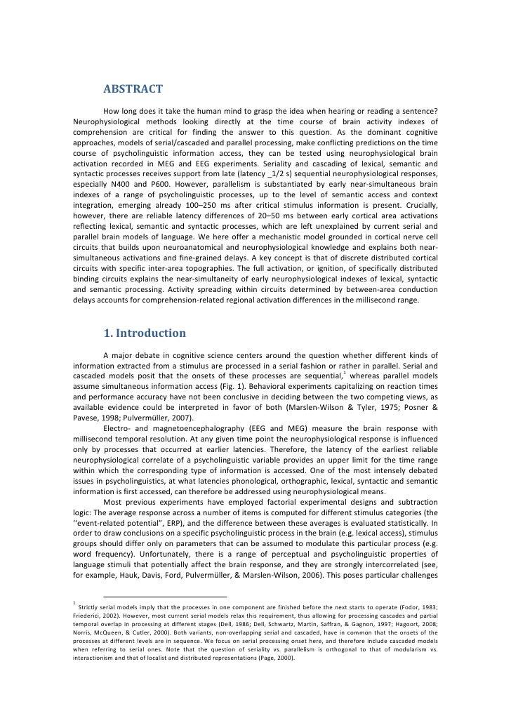 ABSTRACT            Howlongdoesittakethehumanmindtograsptheideawhenhearingorreadingasentence? Neurophys...