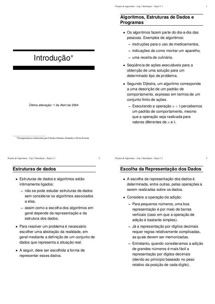 Projeto de Algoritmos – Cap.1 Introdução – Seção 1.1       1                                                              ...